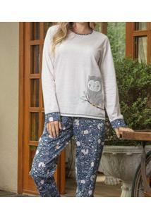 Pijama Longo Listrado Coruja Lua Cheia (9052) 100% Algodão