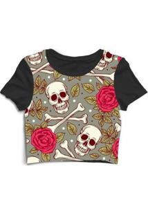 Blusa Feminina Cropped Tshirt Goup Girls Caveira Com Rosas - Feminino