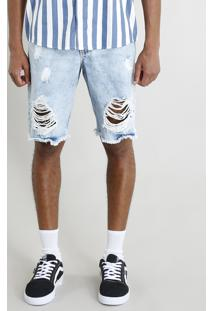 Bermuda Jeans Masculina Destroyed Marmorizada Azul Claro