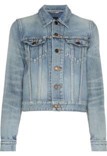 Saint Laurent Jaqueta Jeans Cropped - Azul