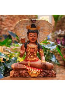 Escultura Shiva Em Madeira 40Cm   Bali