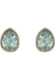 Brinco Armazem Rr Bijoux Gota Cristal Verde Dourado - Feminino