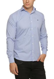 Camisa Alfaiataria Burguesia Quadriculada Azul E Branco