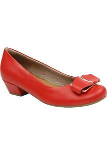 Sapato Tradicional Em Couro Com Laã§O- Vermelho & Douradousaflex