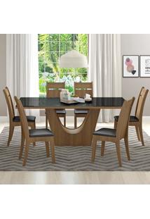 Conjunto Sala De Jantar Madesa Urbi Mesa Tampo De Vidro Com 6 Cadeiras Marrom - Tricae