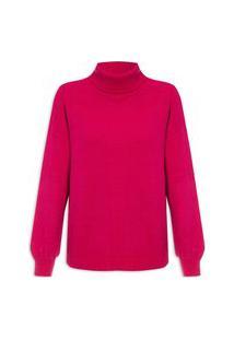 Blusa Feminina Maxi Pull Básico Gola Alta Colors - Rosa