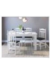 Conjunto De Mesa De Cozinha Com 4 Cadeiras Branco E Preto Lilies Móveis