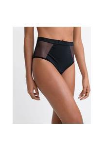 Calcinha Hot Pants Em Microfibra Com Detalhe Em Tule Nas Laterais | Lov | Preto | P