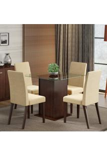 Conjunto De Mesa Com 4 Cadeiras Tais Tabaco E Saara