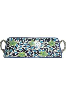 Bandeja Retangular Decorativa Btc Em Cerâmica Com Hastes Em Metal 7 X 38 X 15 Cm - Azul/Verde