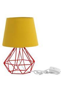 Abajur Diamante Dome Amarelo Mostarda Com Aramado Vermelho