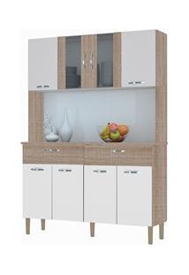 Kit Cozinha Compacta Armário Pan 08 Portas Nogal/White/Nogal - Kit'S P