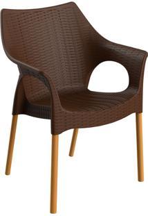 Cadeira Relic Com Braço Chocolate E Madeira