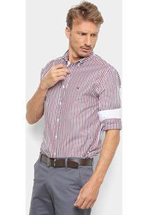Camisa Manga Longa Tommy Hilfiger Listrada Masculina - Masculino-Azul+Vermelho