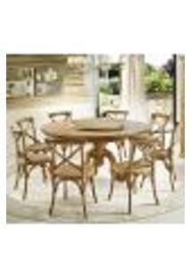 Jogo Mesa De Jantar Mariah Oregon Prato Giratório 160Cm Com 08 Cadeiras Blair Oak Rattan - Gran Belo