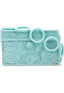 Sophie Anderson Crocheted Box Clutch - Azul