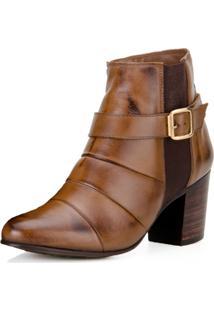 Bota Capelli Ankle Boot Sem Cadarço Com Fivela E Fecho Éclair Pinhão