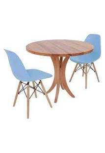 Conjunto Mesa De Jantar Tampo De Madeira 90Cm Com 2 Cadeiras Eiffel - Azul Claro