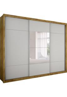 Guarda-Roupa Casal Com Espelho Trento Ii 3 Pt 3 Gv Freijo Dourado E Branco