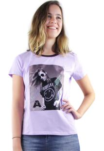 T-Shirt Multi Ponto Denim Rock And Roll Roxo