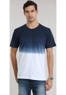 Camiseta Degradê Com Bolso Azul Marinho