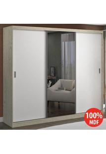 Guarda Roupa 3 Portas C 1 Espelho 100% Mdf 7320E1 Marfim Areia/Branco -Foscarini