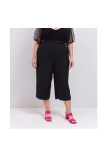 Calça Pantacourt Lisa Em Crepe Curve & Plus Size | Ashua Curve E Plus Size | Preto | Eg