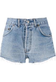 Re/Done Bermuda Jeans Com Efeito Desbotado - Azul