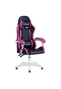 Cadeira Gamer Home Office Preta Com Rosa Escuro