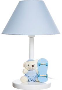 Abajur Madeira Urso Skate Bebê Infantil Menino Potinho De Mel Azul