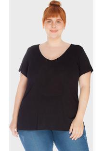 Camiseta Decote V Evasê Tecido Ultra Leve Plus Size Preto - Kanui