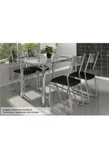 Sala De Jantar Kappesberg Elba 140Cm+4 Cadeiras Cromad/Preto