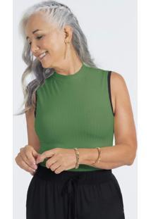 Blusa Canelada Sem Manga Com Gola Alta Verde