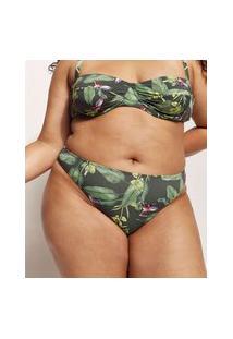 Biquíni Calcinha Plus Size Emi Beachwear Tanga Estampado Bananeiras Com Proteção Uv50+ Biodegradável Verde Escuro