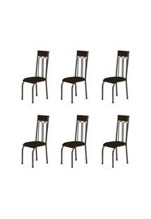 Kit 6 Cadeiras Anatômicas 0.120 Estofada Craqueado/Marrom Escuro - Mar