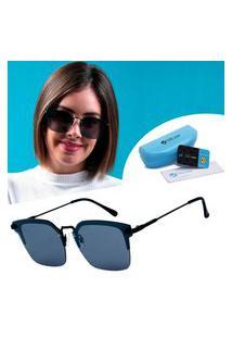 Oculos De Sol Quadrado Preto Lançamento Uv 400