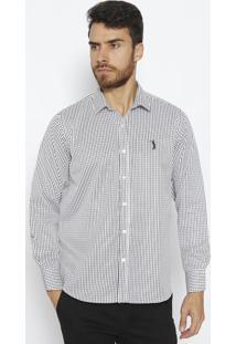 Camisa Com Bordado- Branca & Pretaaleatory