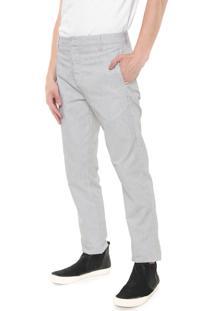 Calça Calvin Klein Chino Listrada Branca/Preta