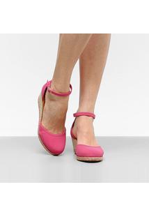 Sandália Espadrille Anabela Drezzup Corda Feminina - Feminino-Pink