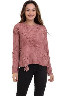 Suéter Kinara Tricot Com Trançado Rosa - Kanui