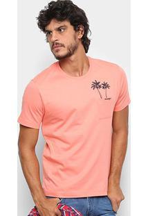 Camiseta Wrangler Bolso Estampa Coqueiro Masculina - Masculino-Salmão
