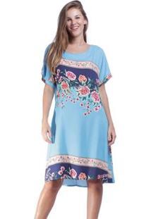 Vestido Curto Amazonia Vital Garden Urban Feminino - Feminino-Azul