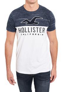 Camiseta Manga Curta Hollister Gráfica Branca/Azul