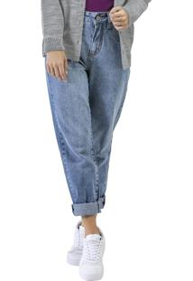 Calça Jeans Mom Lavada Azul