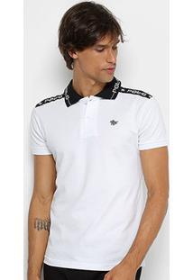 Camisa Polo Polo Rg 518 Gola Estampada Masculina - Masculino-Branco