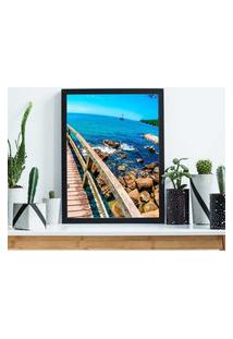 Quadro Decorativo Com Moldura Praia Branco - 30X40Cm