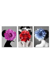 Quadro 60X120Cm Canvas Eyra Mulher Com Flores