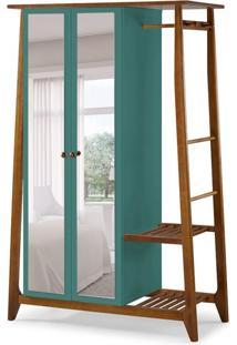 Guarda-Roupa Solteiro Stoka Com Espelho 2 Pt Nogal E Azul Claro