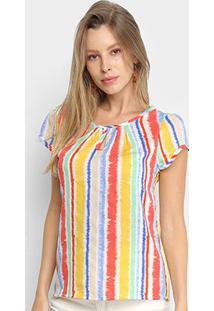 Blusa Dom Listrada Colors Feminina - Feminino-Vermelho