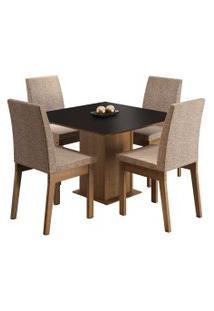 Sala De Jantar Madesa Cris Mesa Tampo De Madeira Com 4 Cadeiras Preta/Marrom